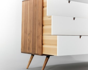 Mid Century Dresser With 3 Drawer In White With Walnut Surround / Frame