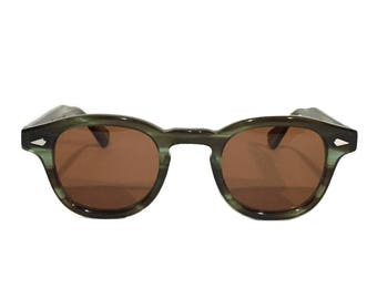 The Quality Mending Co. The Causeway Glasses - Green x Amber