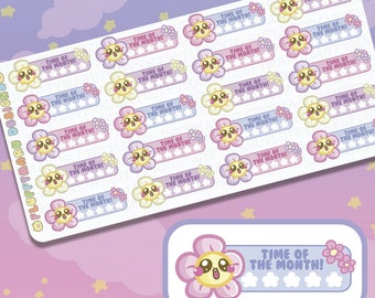 Biggie Time of the Month Flower Tracker || Planner Stickers, Cute Stickers for Erin Condren (ECLP), Filofax, Kikki K, Etc. || BSS06