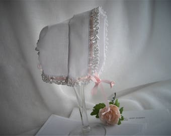 White Heirloom Wedding Hankie DIY No Sew Baby Bonnet Satin Ribbon Embroidery Crochet Vintage Inspired Baby Bonnet Handmade by handcraftusa