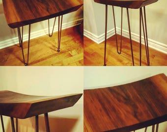 Live edge walnut stool