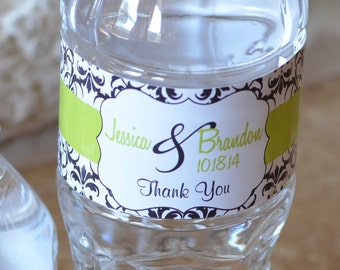 Personalized Glossy WATERPROOF Wedding Water Bottle stickers -change designs to any color, wording  - many designs to choose from  WW-037