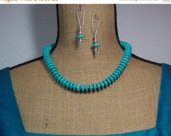 12mm Natural Turquoise Gemstone Heishi, 925 Silver Necklace and Earrings