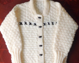REFUCED PRICE Cream Aran Cardigan With Black Toggles & Embroidery