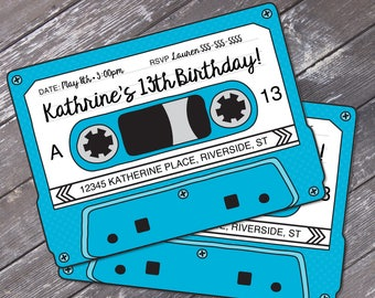 Cassette Tape Invitations - Retro Party, 80's Party Invitation, Mixtape Invite,Blue | Editable Text - Instant Download DIY Printable PDF Kit