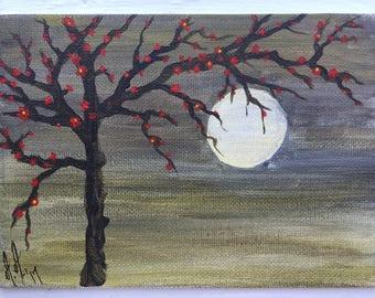 Oeuvre originale, arbre fleur rouge clair de lune, peinture acrylique
