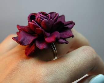 Purple leather rose flower ring