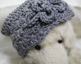 Shabby Stitches crochet hat- charcoal flower- child size