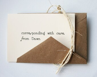 Personalized Stationery -- D A W N --  Stationery Set of Custom Notes & Envelopes- CHOOSE your QUANTITY