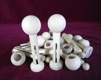 Unfinished Big Head Doll PIN Kits for 12 Dolls