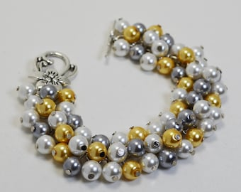 Gray, yellow and white pearl cluster bracelet, bridal jewelry, gray bridesmaids bracelet, wedding bracelet, chunky bracelet, chunky bracelet