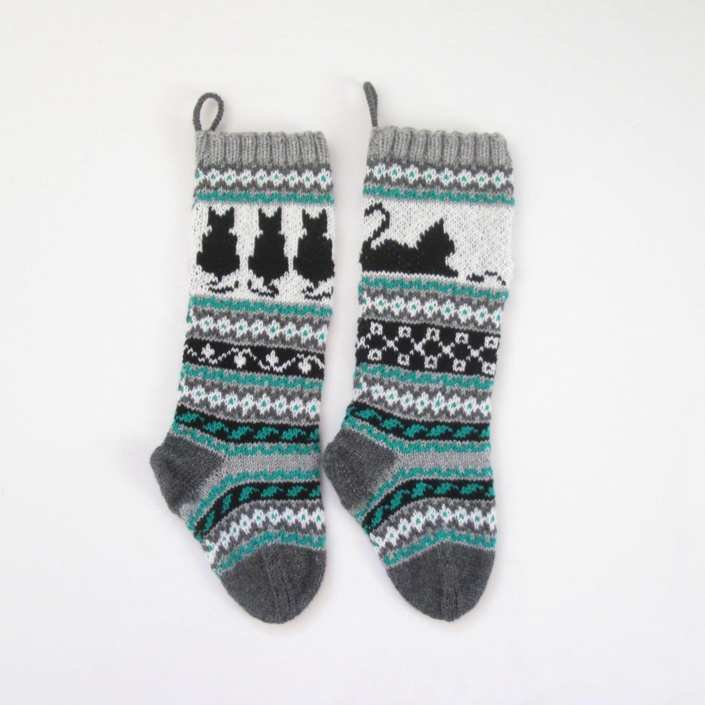 Pattern Cat Christmas Stockings, Knit Cat Pattern, Cat Santa Sock ...