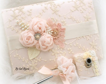 Blush Wedding Guest Book and Pen Rose Ivory Bridal Shower Lace Signature Book Elegant