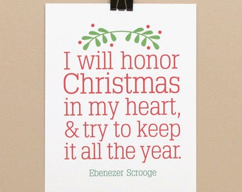Instant Download, 8x10 Printable, Scrooge, Christmas Carol, Honor Christmas, Epiphany, Typography, Digital Download Print, Quote, Print, Art