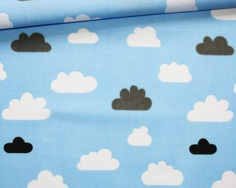 Clouds, cotton fabric printed 50 x 160 cm, white, black and dark gray clouds on blue pastel background