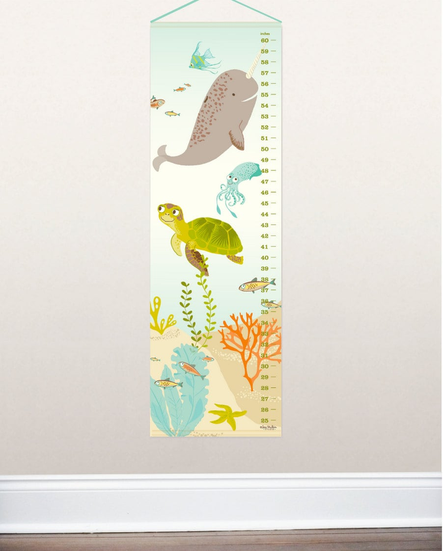 Ocean growth chart under the sea nursery wall decor kids zoom geenschuldenfo Image collections
