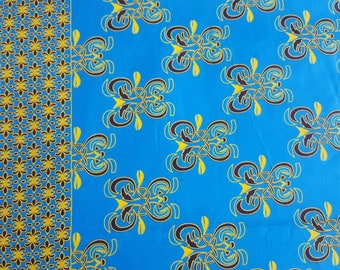 African Wax Print Fabric - Bright Blue and Yellow Tribal Border Print