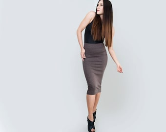 High Waist Pencil Skirt | Below the Knee | Women | Tall or Petite length | Ethically made in our USA loft | L415 & Co Clothing (# 415-14)