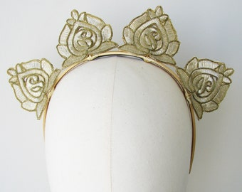 Gold Fascinator Rose Flower Crown Maia Headband Races Headpiece