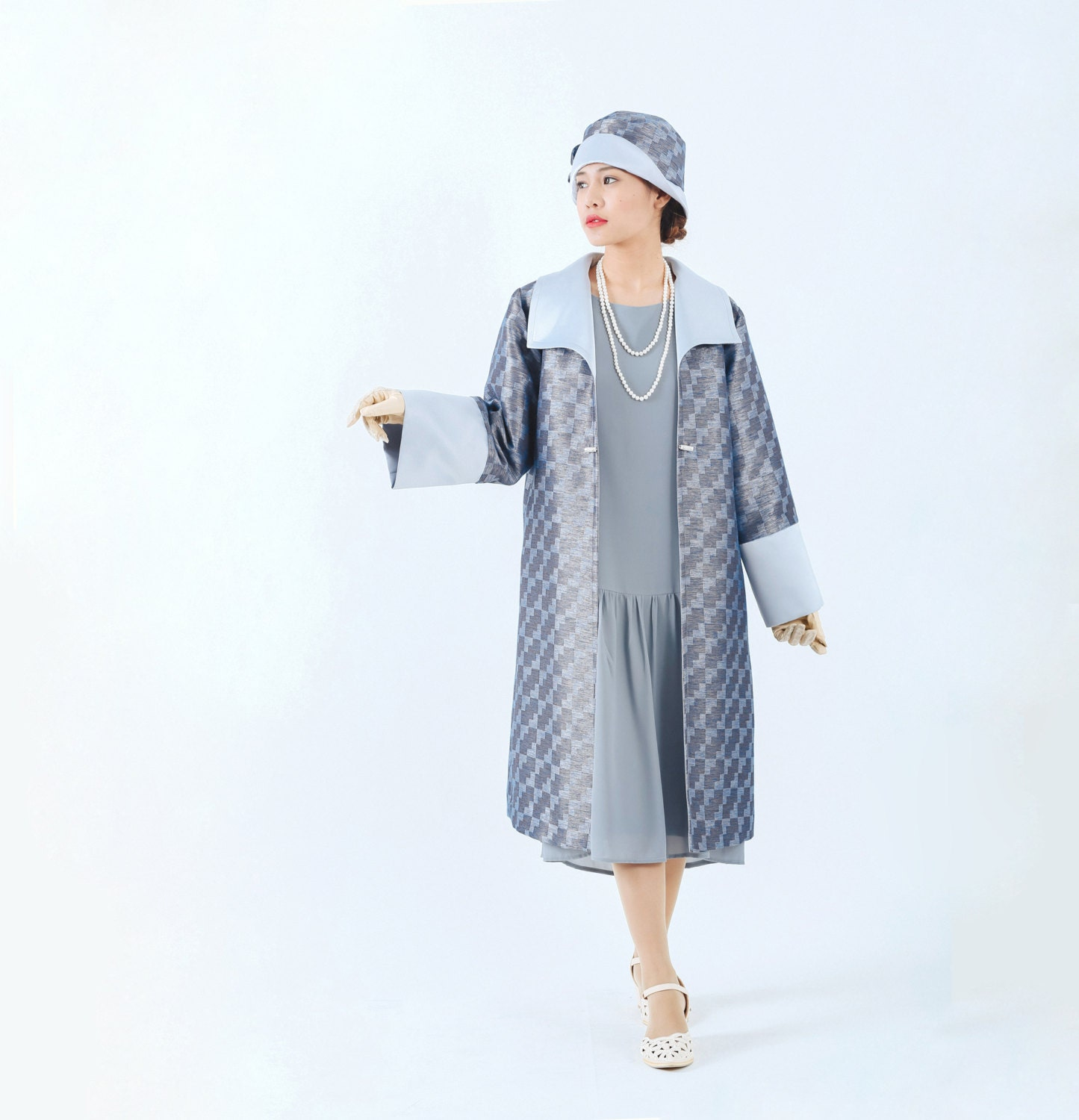 Blue and grey Great Gatsby coat 1920s blue coat Miss Fisher