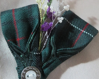 Scottish wedding accessory. Tartan wedding corsage. Tartan wedding buttonhole. Bespoke tartan brooch. Choice of tartan.  Thistle style pin.