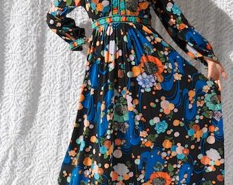Vintage Elizabeth Arden Dress || Boho Hippie Gown. Bohemian Party Dress. Long Sleeve Gypsy Dress. Mod Maxi Dress. Floral 1970s Maxi Dress