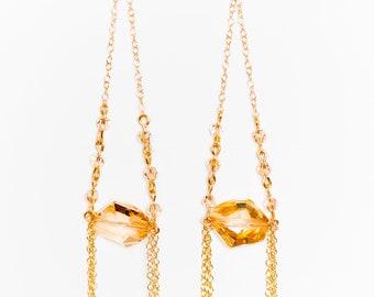 0001-Golden Shadow Swarovski Crystal Drops in 14kt gold filled