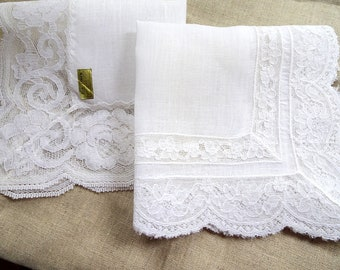 Two white vintage lace handkerchiefs