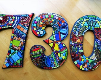 """MOSAIC HOUSE NUMBERS - 13"""" Tall - Customizable - Order 13"""" Size Numbers From This Listing / Only 8.00 Shipping on This Size or Larger - Ooak"""