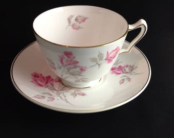 Vintage Royal Grafton Delicate Pink Rose Teacup and Matching Saucer Pink Rosebud Gold Trim Fine English China Made in England