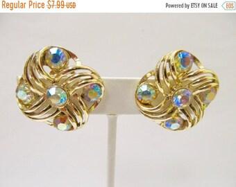 On Sale Vintage Iridescent Rhinestone Earrings Item K # 1637
