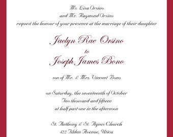 Cranberry Damask Wedding Invitation Suite