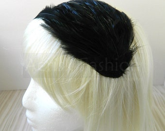 Tuxedo Black feather fascinator blank Base (5 fastener option) Derby feather cap,fascinator for mardi gras, kentucky derby, or tea party