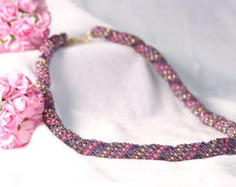 Amethyst, Deep Pink and Gold Russian Spiral Necklace