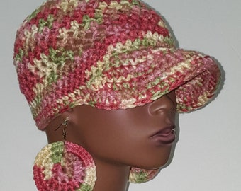 CLEARANCE Strawberry Fields  Crochet Baseball Cap Hat with Earrings by Razonda Lee Razondalee