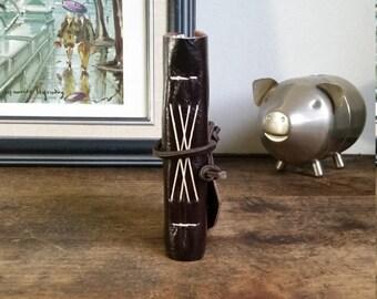 Handmade Leather Journal, Pocket-Size, Dark Brown 3 x 4.5 Journals by The Orange Windmill 1749