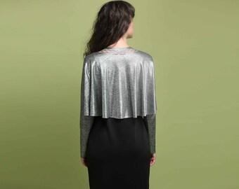 Silver Dress Cover, Silver Evening Shawl, Silver Elegant Shrug, Silver Evening Shrug, Silver Dressy Bolero, Shawls Wraps, Women's Bolero