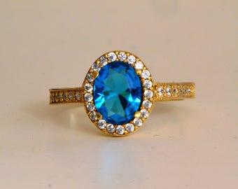 Silver 14K Gold Filled Blue Topaz Ring, December Birthstone Ring, Bridal Ring, Engraved Ring, Engagement Ring, Anniversary gift for Women