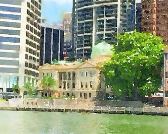 Watercolor Print - Customs House Brisbane - Cityscape