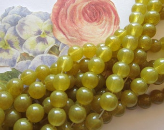 40 Olive green glass beads 8mm polished round beadwork supplies