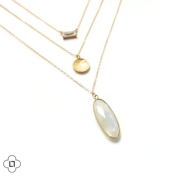 Bezel Gemstone + Moonstone Layer Necklace