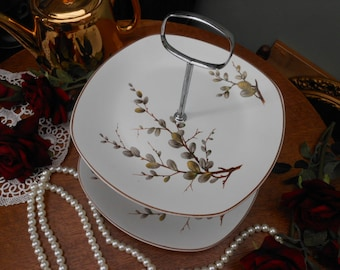 SALE - 1960's MIDWINTER 2 TIER Cake Stand - Pussy Willow - Genuine vintage - Square handle - Retro kitchen - Vintage party - Wedding gift