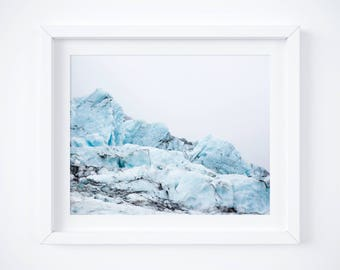 Iceland print - Glacier landscape photo - Travel photography - Large wall art - Nature photo print - Framed fine art - Winter Holiday gift