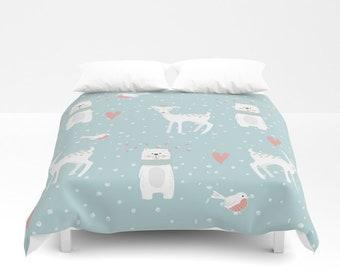 Bear and fawn Duvet Cover blue white bedding Twin and twin xl size duvet cover bedding nursery and kids room
