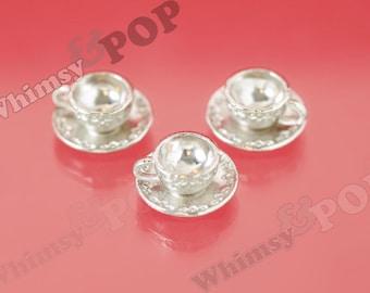 3D Tibetan Silver Tea Party Teacup Tea Cup Teatime Tea Time Charm, Teacup Charm, Mug Charm, 14mm x 8mm (R7-135))