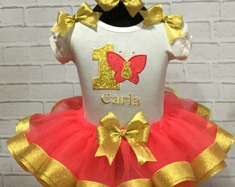 CORAL and Gold Crystal Accent Butterfly Birthday Personalized BUTTERFLY Ribbon Tutu 3 Piece Set 1st 2nd 3rd 4th 5th 6th Birthday Tutu Set