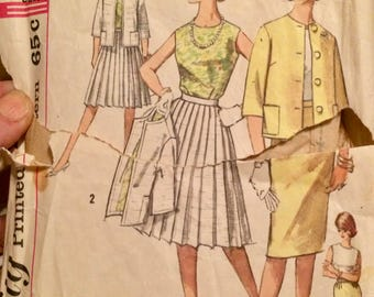 Vintage 50's Blouse, Jacket, and Skirts Sewing Pattern Simplicity 4400 Size 14 Bust 34 inches