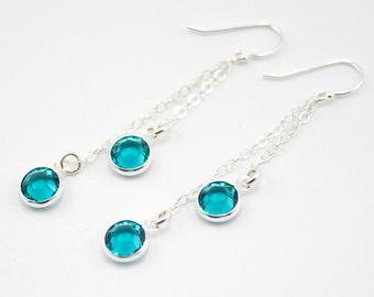 December Birthstone Earrings, Double Strand  Earrings, Blue Zircon Earrings, December Birthday Gift, Long Dangle Earrings, Long Chain Drops