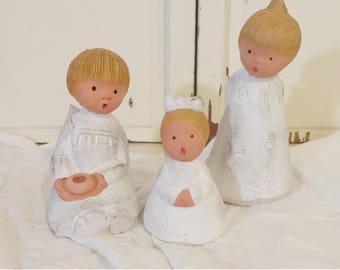 Vintage Angel Trio   Set of Three Beck Clay Angels