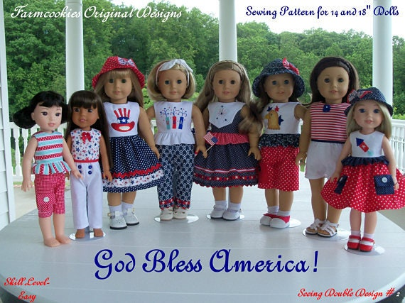 "2 Sizes! PDF Sewing Pattern/ Fits Like 18 Inch American Girl Doll Clothes & 14"" Wellie Wisher Doll Clothes/ GOD BLESS AMERiCA!"